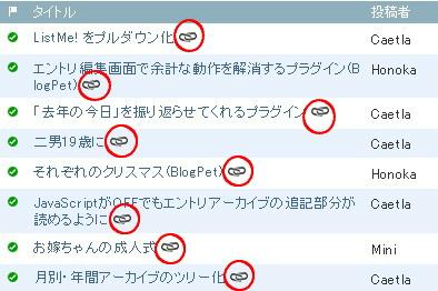 赤○のアイコンがエントリアーカイブへのリンクになってます